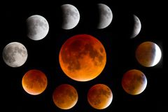Phases of a Lunar Blood Moon Eclipse. A collage of the various moon phases taken at various times during a lunar blood moon eclipse royalty free stock photography