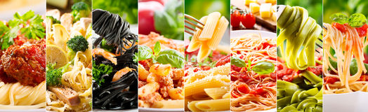 Collage of various pasta. Collage of various plates of pasta as background stock photography