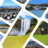 Collage of various popular tourist attractions round Iceland. Stock Images