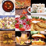 Collage various restaurant dishes stock images