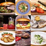 Collage various restaurant dishes stock photos