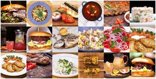 Collage various restaurant dishes. Restaurant dish - a collage of various dishes stock photography