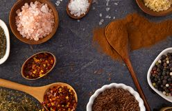 Collage of Various Seasonings Spices and Herbs for Flavorful Cooking and Baking. A Collage of Various Seasonings Spices and Herbs for Flavorful Cooking and royalty free stock images