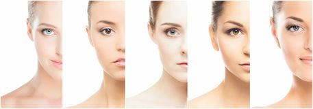 Collage of various spa female portraits. Face lifting, skincare, plastic surgery and make-up concept royalty free stock photo