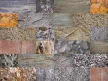 Collage of various stone type details. Stock Photo