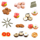 Collage of various sweet foods. On a white background Royalty Free Stock Photography
