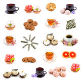 Collage of various sweet foods and tea. On a white background Royalty Free Stock Images