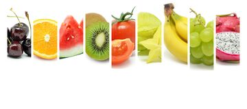 Collage of various type color fruits stock photos