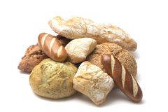 Various Types of Artisan Breads. Collage of Various Types of Artisan Breads royalty free stock images