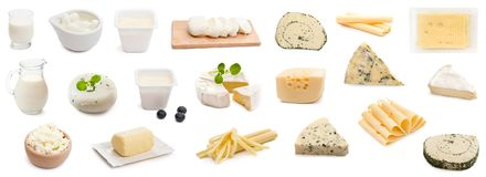Collage various types of cheeses isolated Royalty Free Stock Images
