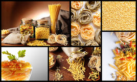 Collage with various types of uncooked pasta. With white and brown background Royalty Free Stock Photography