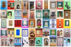 Collage of various windows, doors and door handles.  stock image