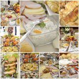 Collage of a variuos gourmet food Stock Photos