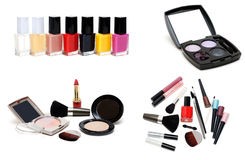 Collage Varnish For Nail And Set For Make-up Stock Photography
