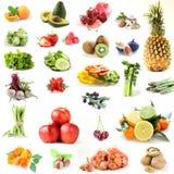 Collage vastgestelde groenten, fruit, bessen stock foto's
