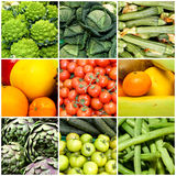 Collage of vegetables and fruits, concept of health and wellness. Vegan diet. A collage of nine frames with fresh vegetables and fruits. Vegan diet. Concept of stock images
