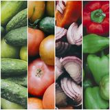 Collage With Vegetables. Healthy fresh vegetables background, photo collage Royalty Free Stock Images