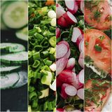 Collage With Vegetables. Healthy fresh vegetables background, photo collage Royalty Free Stock Photos