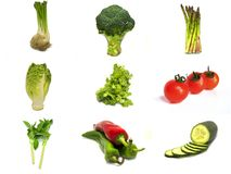 Collage of vegetables isolated with white background stock images
