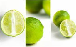 collage verde dell'agrume della calce su fondo bianco Immagini Stock Libere da Diritti