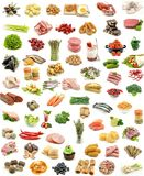 Collage. Vertical food assortment on white background Stock Photos