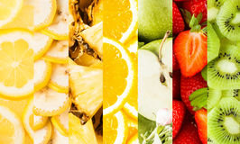 Collage of vertical stripes with fresh fruits Royalty Free Stock Images
