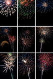Collage verticale dei fuochi d'artificio Fotografia Stock