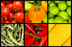 Collage - viele Obst und Gemüse Stockbilder