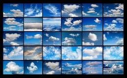 Collage vieler Bilder des Himmels mit Wolken Lizenzfreie Stockfotos