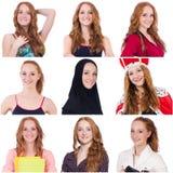 Collage vieler Gesichter vom gleichen Modell Stockfoto