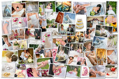 Collage vieler Hochzeitsfotos Stockfotos