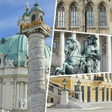 Collage of Vienna ( Austria ) images - travel background (my pho Royalty Free Stock Photography