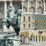 Collage of Vienna ( Austria ) images - travel background (my pho Royalty Free Stock Photo