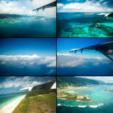 Collage of views with the aircraft. Seychelles. Royalty Free Stock Photos