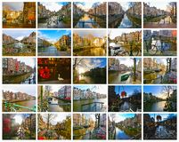 The collage from views of Amsterdam canal and bridge with typical dutch houses, boats and bicycles. Royalty Free Stock Images