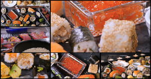 Collage of views of an assortment of Japanese food: sushi, nigiri, sashimi. Rolls stock video footage