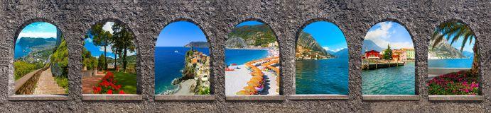 Capri, beautiful and famous island in the Mediterranean Sea Coast, Naples. Italy. Collage. Collage from views of Capri, beautiful and famous island in the royalty free stock images