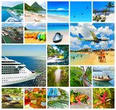Collage from views of the Caribbean beaches royalty free stock photo