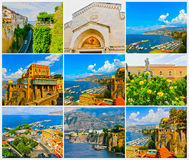 The collage of views of the coast in Sorrento, Italy. The collage from views of the Sorrento at Italy Royalty Free Stock Images