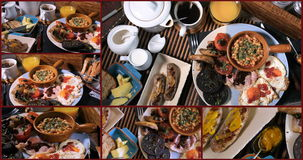 Collage of views of a full cooked English breakfast stock footage