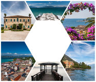 The collage from views of  Lake Garda Royalty Free Stock Photo