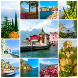 The collage from views of Lake Garda Stock Photography