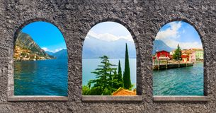 The collage from views of Lake Garda Stock Images