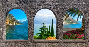The collage from views of Lake Garda Stock Image