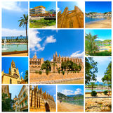 The collage from views of Palma de Mallorca, Spain Stock Image