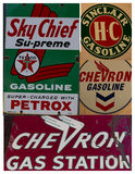 Collage of vintage gas signs Stock Photography