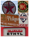 Collage of vintage gas signs/symbols Stock Images