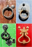 Collage of vintage iron handles on old doors Stock Photo