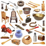 Collage with vintage objects on white. Collage with large number of vintage objects isolated on white background, ready for your design Stock Images