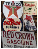 Collage of vintage signs/symbols gas stations Stock Image
